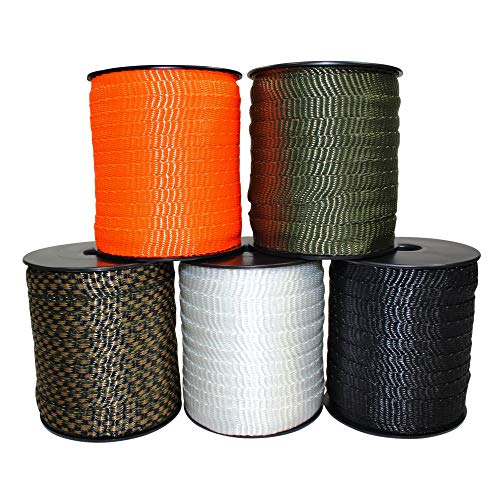 """SGT KNOTS Polyester Webbing - Durable Flat Rope, Pull Tape Strap for Gardening and Commercial (5/8"""" x 100ft, Black)"""