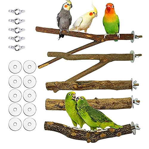 5 Stück Natur Vögel Sitzstangen Holz Vogel Barsch Stände Vogelkäfig Barsch Zubehör Wellensittich Zubehör mit Montageteilen
