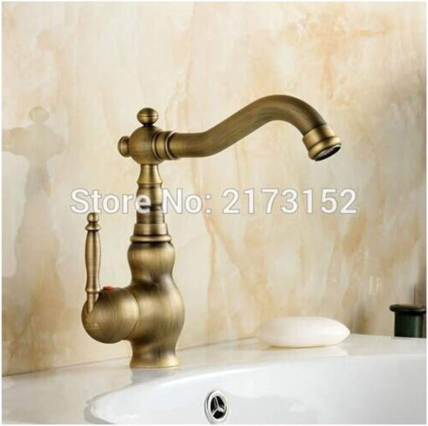 Faucet Kitchen Washing Basin Deck Mounted Antique Brass Bathroom Faucet Mouth Swivel Brass Basin Sink Mixer Tap
