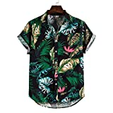 GDJGTA Hawaiian Shirt for Men Cotton Linen Ethnic Short Sleeve Button Tee Casual Printing Tops Blouse Lapel T-Shirt