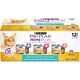 Purina Pro Plan Grain Free Senior Pate Wet Cat Food Variety Pack, PRIME PLUS Seafood Favorites - (2 Packs of 12) 3 oz. Cans