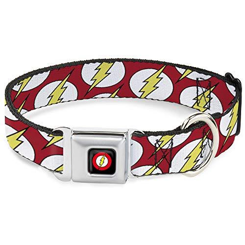 Collar para Perro con Hebilla de cinturón de Seguridad con Logotipo disperso Rojo, Blanco, Amarillo, 9 a 15 Pulgadas de Ancho