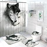 4 Stück Wolf Duschvorhang-Set mit rutschfestem Teppich, WC-Deckelbezug und Badematte, wasserdichter Wildtier-Duschvorhang mit 12 Haken, Wolf Badezimmer Duschvorhang-Set für Männer und Jungen