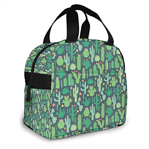 Insulated Lunch Bag Tote Bag, Lunch Water Resistant Reusable Cooler Box for Women Men Adults College Work Picnic Hiking Beach Fishing (Green Cactus)