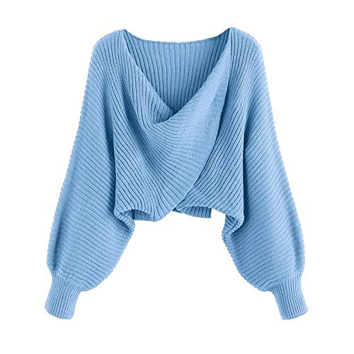 Size Guide:S--US 4, M--US 6, L--US 8.Please check the size details before you place the order Material: Acrylic,Cotton.Soft and skin-friendly,little stretchy knit fabric Features:V Neck,Long Batwing Sleeve,Drop Shoulder,Asymmetrical Twist Knot,Croppe...