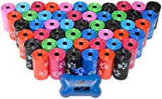 960 Pet Waste Bags, Dog Waste Bags, Bulk Poop Bags with Leash Clip and Bone Bag Dispenser - (960 Bags, Rainbow with Paw Prints)