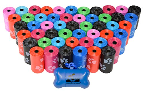 Downtown Pet Supply 960 Pet Waste Bags, Dog Waste Bags, Bulk Poop Bags with Leash Clip and Bone Bag Dispenser - (960 Bags, Rainbow with Paw Prints)
