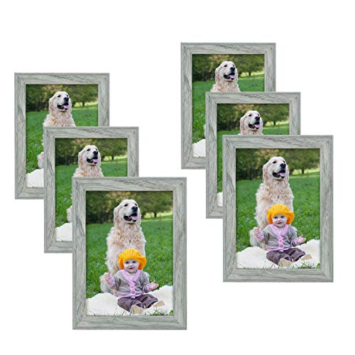 Adeco 5x7 Collage Picture Photo Frame for Wall Hanging and Table Top Display, Decortive MDF Wood Rustic Poster Frame, Pack of 6 for Family Friends Gift