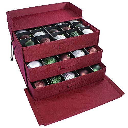 612 Vermont Christmas Ornament Storage Box with 3 Pull-Out Trays, Adjustable Acid-Free Dividers, 21.25 Inches x 17.25 Inches x 13 Inches, Holds 60-4 Inch Ornaments