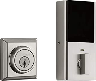 Kwikset 99140-132 Signature Series 2nd Gen Square Smart Lock Featuring SmartKey Security and Home Connect Technology Contemporary Z-Wave Plus Deadbolt, Satin Nickel