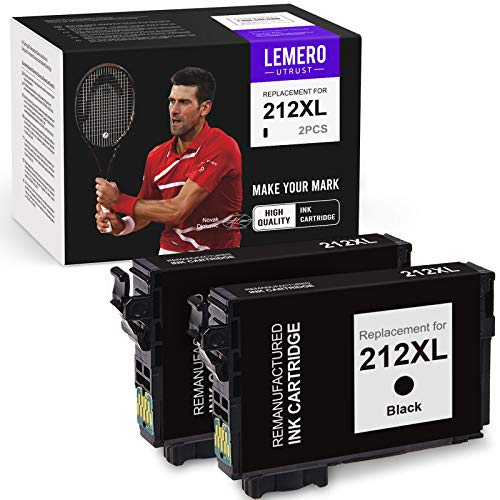 LemeroUtrust Remanufactured Ink Cartridge Replacement for Epson 212 212XL T212XL T212 use with Epson Expression Home XP-4100 XP-4105 Workforce WF-2850 WF-2830 (Black, 2-Pack)