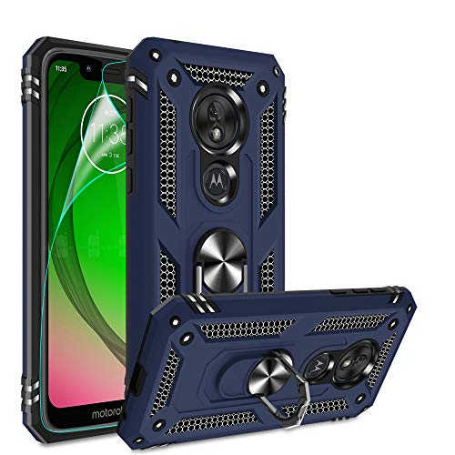 Moto G7 Play Case, Moto G7 Play Phone Case with HD Screen Protector, Gritup 360 Degree Rotating Metal Ring Holder Kickstand Armor Bracket Cover Phone...
