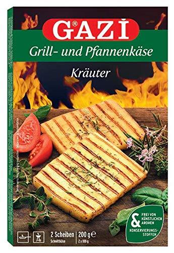 Gazi Grill- und Pfannenkäse Kräuter - 7x 200gramm - Pfanne Grill Grillkäse Ofen Ofenkäse Backkäse 45% Fett i. Tr. Schnittkäse Käse mikrobielles Lab Halal vegetarisch glutenfrei für Grill und Pfanne