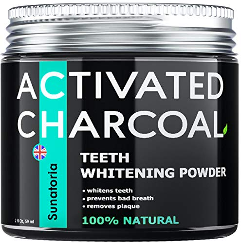 Activated Charcoal Teeth Whitening Powder – Coconut Teeth Whitener – Effective Remover Tooth Stains for a Healthier Whiter Smile - Product of UK by Sunatoria - Improved Formula