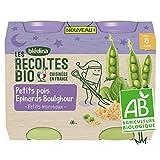 Blédina Les Récoltes Bio, Petits pots bébé Bio dès 8 Mois, Petits Pois Epinards Boulghour, 2x200g