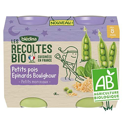 BLEDINA LES RECOLTES BIO Petits pots pour bébé dès 8 mois Petits Pois Epinards Boulghour 2x200g