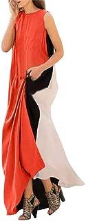 aihihe Women Maxi Dress Striped Long Dresses Casual Loose Kaftan Oversized Round Neck Plus Size Sundress