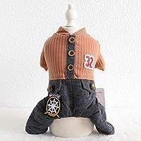 犬用冬服番号印刷された木製バックル4本足の暖かいペットの服オレンジブルーの色犬の服、黄色、L