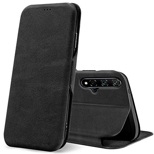 Verco Handyhülle für Huawei Nova 5T, Honor 20 Hülle Bookstyle Premium Handy Flip Cover für Nova 5T Hülle [integr. Magnet] Book Hülle PU Leder Tasche, Schwarz