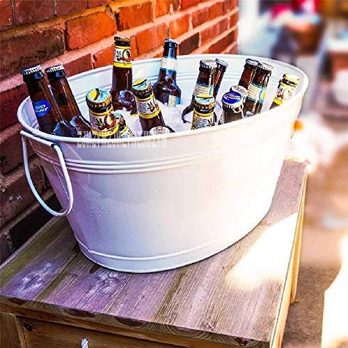 Cubo de Hielo 88-880 Barril de Hielo Ovalado Cubo de Hielo de Metal de Alta Capacidad Barbacoa Vino Champagne Cerveza Cubo de Hielo Grande KTV Suministros para Clubes con Rejilla 50 x37 x25cm/Blanc