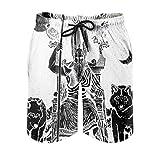 kikomia Pantalones cortos de playa vikingos Odin Speer cuervo lobo luna bocetos artísticos impresos cintura elástica pantalones cortos de playa con bolsillos blanco XL