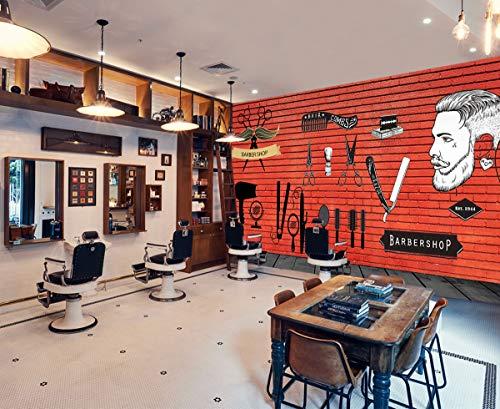 3D Barber Shop 246 Barber Shop - Papel de pared para pared (vinilo (sin pegamento ni extraíble), 416 x 254 cm