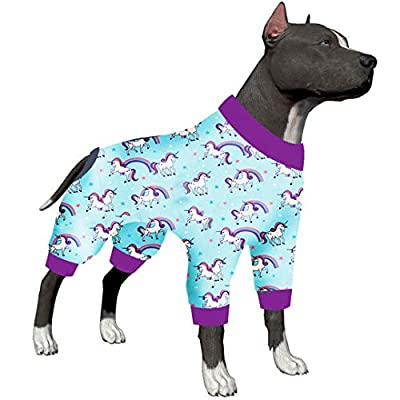 LovinPet Large Dogs Pajamas/Post-Surgical Recovery For Big Dogs/Lightweight Pullover, Full Coverage Dog Pjs/Exclusive Magical Unicorn Rainbow Bridge Prints