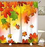 LIVILAN Falling Maple Leaves Duschvorhang, Herbst Duschvorhang-Set mit 12 Haken, Stoff fallender Duschvorhang Heimdekorationen, maschinenwaschbar, 183 x 183 cm, orange & grüne Blätter