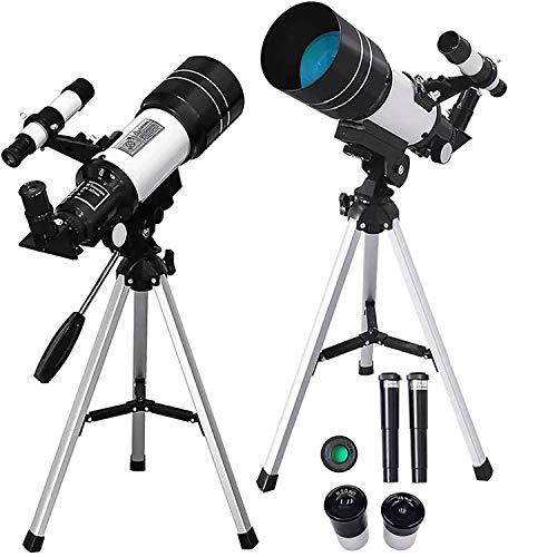 SKSNB Telescopio para astronomía Niños Adultos Principiantes, 70Mm Telescopio astronómico de Apertura 300Mm con trípode/Óptica Multicapa/Visor para Adultos Niños