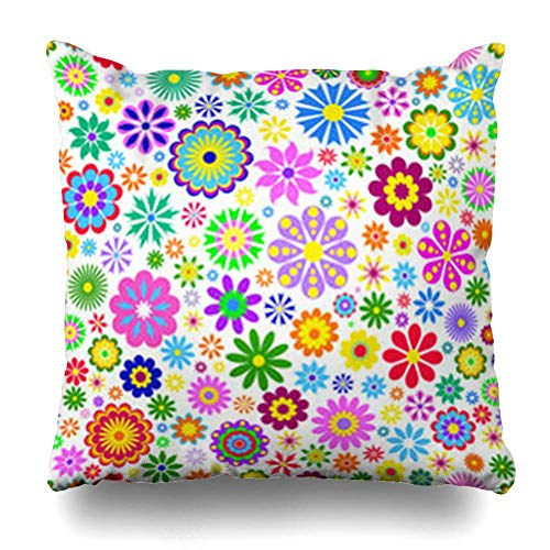 Klotr Housses De Coussins Violet Orange Flowers on Swirl Nature Pink Pattern Spring Black Retro Abstract Flower Floral Blue Pillowcase Square Size 18 x 18 inches Home Decor Cushion Cases
