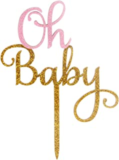 LOVELY BITON Oh Baby Acrylic Cake Topper of Two-Tone(Gold&Pink) - Baby Shower Hawaiian Party Supplies Favors, Gifts and De...