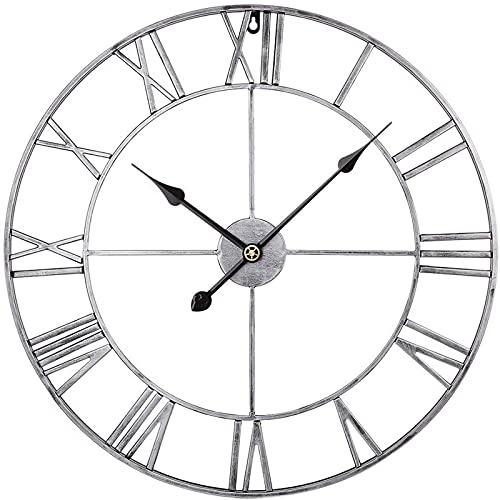 Reloj de Pared Grande, 40 CM / 16 Pulgadas, números Romanos Grandes de Metal, Relojes de Pared Personalizados Que no Hacen tictac para Sala de Estar, Cocina, dormitorios, Oficina, Bar