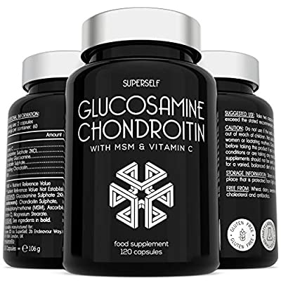 Glucosamine and Chondroitin MSM Capsules - High Strength Complex with Glucosamine, Chondroitin, MSM and Vitamin C - 120 Tablets - Supplement for Men and Women - 1100mg Glucosamine Sulphate per Serving