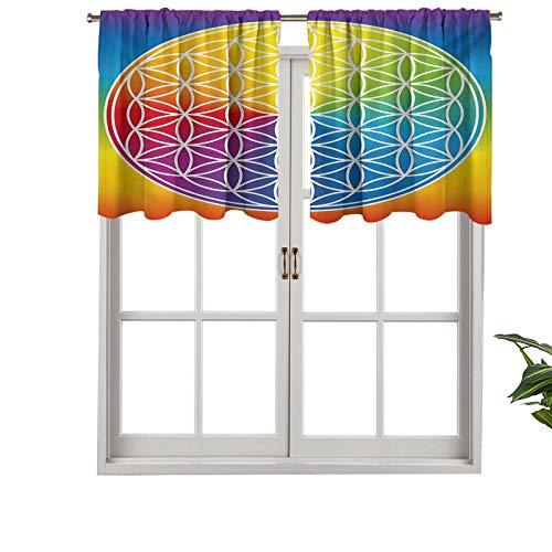 Hiiiman Cortinas térmicas aisladas con cenefa, diseño de flores de la paz para niños, jóvenes, estilo de vida radiante, tono arco iris, juego de 2, 42 x 24 pulgadas para decoración de salón comedor