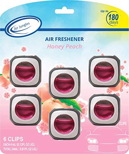 Honey Peach Scent Car Air Freshener Clip, 6 Car Freshener Vent Clips, 4ml Each, Long Lasting Air Freshener for Car, Up to 180 Days Car Refresher Odor Eliminator