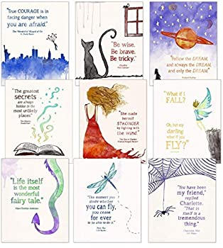 Children s Literature Inspirational Quote Poster Set Discount Classroom Bundle Fine Art Paper Laminated or Framed Multiple Sizes Available for Home Office or School.