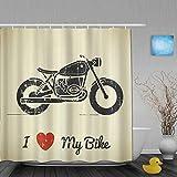 Cortinas de Ducha,Manly Vintage Grunge Flat Looking Motorcycle y me Encanta mi Bicicleta, Cortina de Baño Material de poliéster Resistente al Agua con Ganchos 180 * 180cm