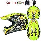 CNSTZX Cascos de Motocross, Niños y Niñas MTB de Cross Racing Casco, Set con 1 Gafas, 1 Guantes, 1 Máscara, D. O. T Certificado, S-XL: 54-61 CM, Fluorescentyellow,L