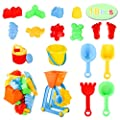 AWEFRANK 18 PCS Beach Sand Toys Set for Kids, Animals & Castle Models, Molds Water Wheel, Sand Sieve, Shovel Tool Kit, Watering Can and Mesh Beach Toy Bag, Fun Outdoor Games for Toddlers