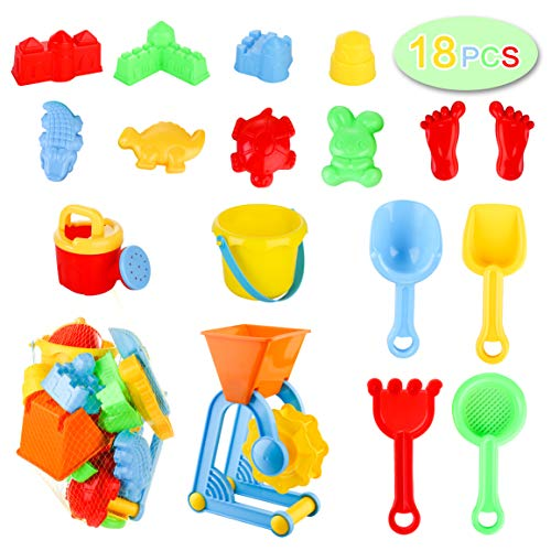 Awefrank 18 PCS Beach Sand Toys Set for Kids with Sand Water Wheel, Beach Bucket, Shovel Tool Kit, Watering Can, Animals & Castle Models and Mesh Beach Toy Bag, Outdoor Toddlers Water Games