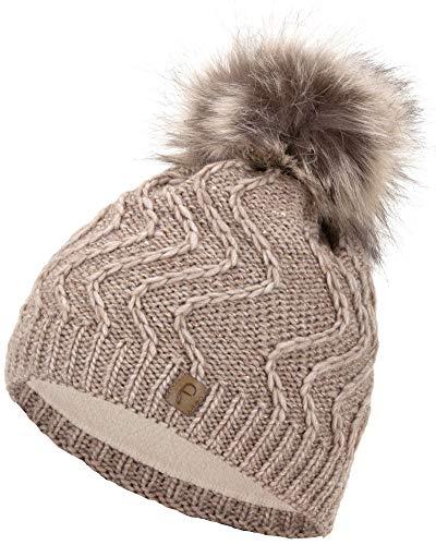 Faera Gorro de Invierno cálido Forro y Piel sintética Gorro de pompón Forro Polar Gorro de Invierno de Punto Gorro de Punto Hombre Mujer Talla única, Color:Beis