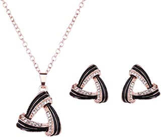 Rhinestone Simulated Diamond Water Droplets Gold Plated Cubic Zirconia Necklace Earring Jewelry Sets Women