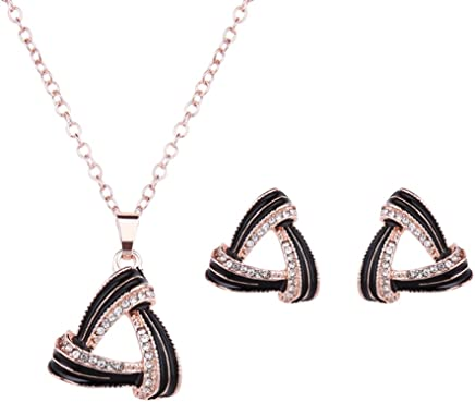 EVERRICH Elegant Party Triangle Eardrop Diamonds Silver Plated Evening Necklace Earrings Jewelry Sets 2 Pcs Black