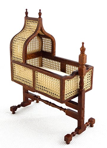 Melody Jane Dollhouse 1:24 Jacobean Cane Walnut Rocking Cradle JBM Nursery Furniture