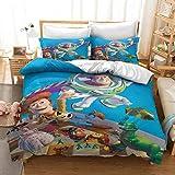 WMZ-SC Toy Story Bettbezug 135x200 Kinderbettwäsche Polyesterbaumwolle ist weich & bequem Mit Reißverschluss Inklusive Kissenbezug 50 * 75cm / 80 * 80cm (3,135x200cm+80x80cmx1)