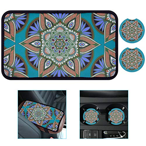 Wisdompro Auto Center Console Cover Pad, Universal Vehicle Interior Accessories Car Armrest Cover Protector Cushion with 2 Pack Car Cup Holder Coaster for Men and Women - Green Flower Pattern