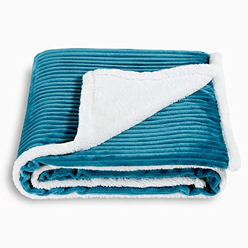 SOCHOW Sherpa Fleece Throw Blanket, Super Soft Fluffy Warm Stripe Plush Blanket for Sofa Couch Bed 60 x 80 Inches, Teal Green