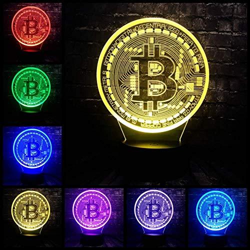 3D Illusion LED 7 Farbwechsel USB Base Glanz Acryl Panel Bitcoin Raumdekor Nacht Nacht Stimmung Lampe Urlaub Freund Geschenk