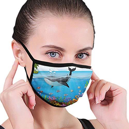 Gezicht Sjaal Walvis Massive Walvis De meester van de Oceanen Themedround Planet Natuur Donkerblauw Zwart En Oranje Winddicht Duurzaam Park Winkelen Mond Sjaal Elastische Earhoo Outdoor Fac