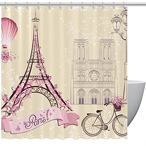 MUMIMI Juego de cortinas de ducha con ganchos resistentes al agua para hotel, cortina de baño de color rosa de París Torre Eiffel para bicicleta o casa, cortina de baño de 72 x 72 pulgadas